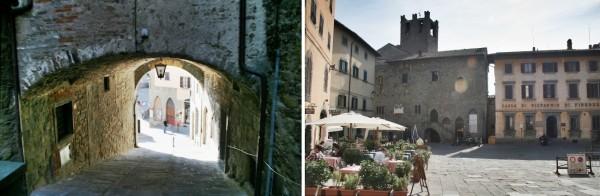 Archway & piazza in Cortona, Tuscany, Italy