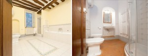 Bathrooms at Cortona holiday rental apartment in Tuscany for self catering vacation accommodation in Italy