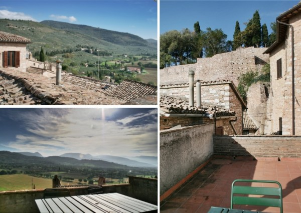 Ca' Spadolini roof terrace views. Holiday rental house in Spello for vacation accommodation in Umbria Italy