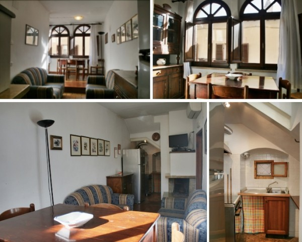 Ca' Spadolino living, dining room & kitchen at holiday rental house Spello vacation accommodation Umbria Italy