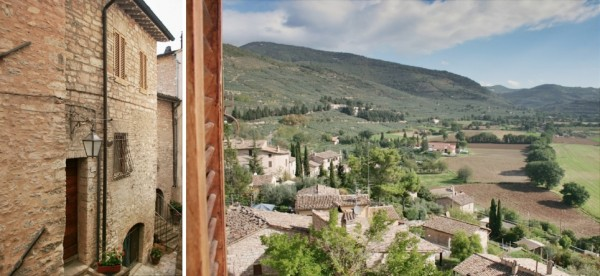 Entrance & view, Spello mini holiday apartments for vacation accommodaton in Umbria Italy