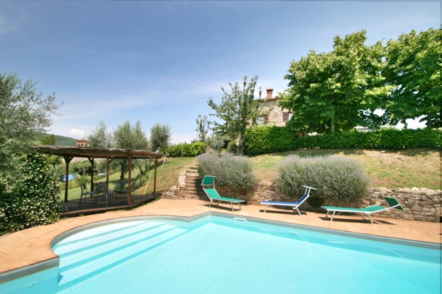 The pool at Casa del Lupo, a holiday villa on the Tuscany Umbria border