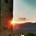 The sunset as seen from Preggio, a hill top village above the Tuscany Umbria border
