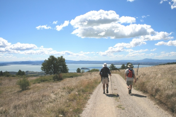 Walking On The Tuscany Umbria Border Above Lake Trasimeno, Italy