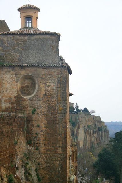 Tufa buildings and the cliff face in Orvieto, Umbria