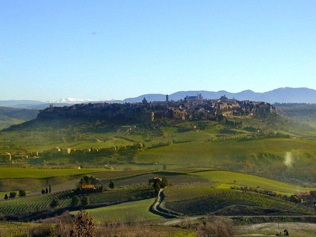 The town of Orvieto in Umbria seen from a distance