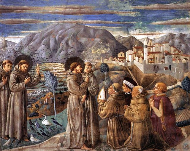 A scene from the life of St. Francis by Benozzo Gozzoli in Montefalco