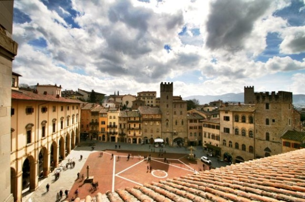 The Piazza Grande in the centre of Arezzo, Tuscany