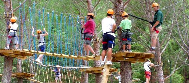 Rope bridges at the Activo Park in Umbria