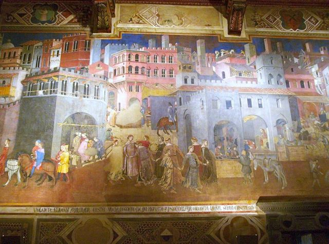 The effects of good government depicted by Ambrogio Lorenzetti in Siena