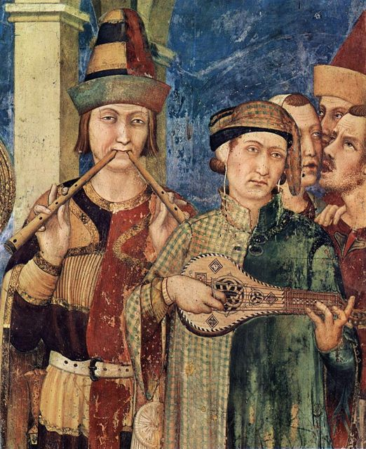 Medieval musicians frescoed on the walls of the San martino  chapel, Assisi