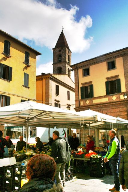 Market Stalls In The Centre Of Umbertide, a town in Umbria