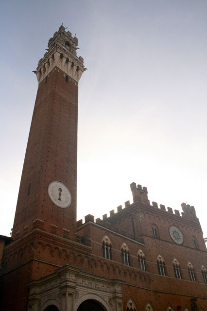 A view of the Torre del Mangia, a tower in the main piazza, the Campo, of Siena, Tuscany