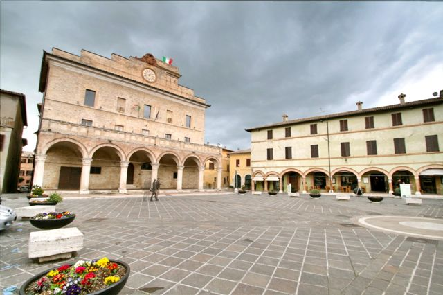 The main piazza in Montefalco, Umbria