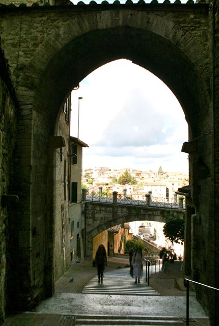 The medieval aqueduct in Perugia, now a pedestrian walkway