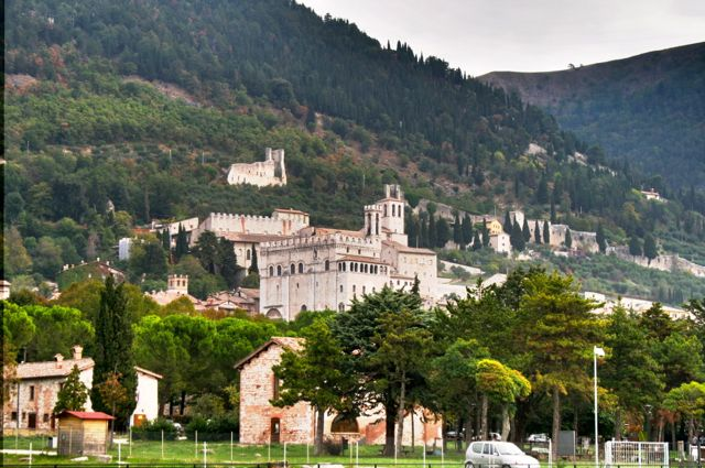 The town of Gubbio in Umbria, Italy, Seen From The Roman Amphitheatre