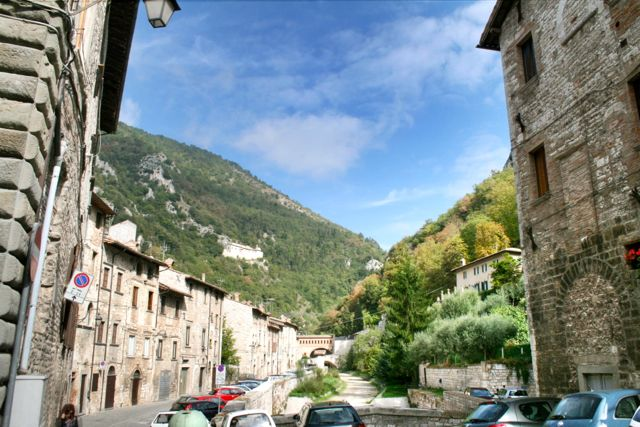 Looking up the Bottacione Gorge from Gubbio