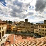 View down onto the Piazza Grande in Arezzo