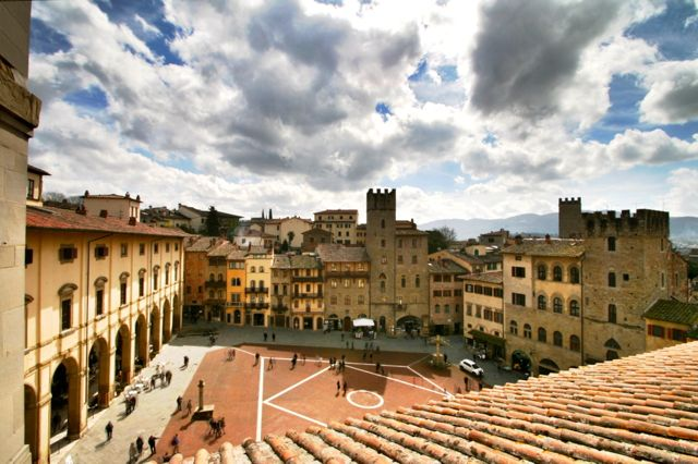 View down onto the Piazza Grande in Arezzo