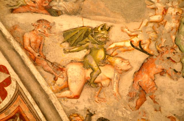 A scene from hell in the church of Sant'Agostino, Gubbio