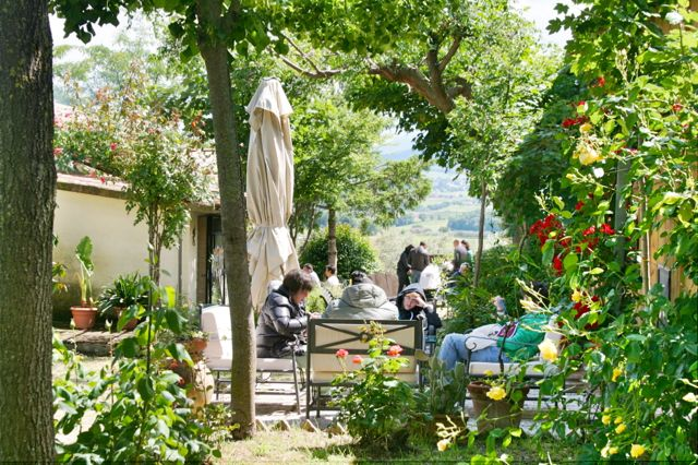 In the garden at the Fongoli Cantina, Montefalco