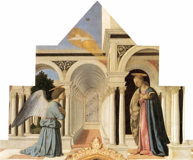 The Annunciation on the Perugia altarpiece by Piero della Francesca