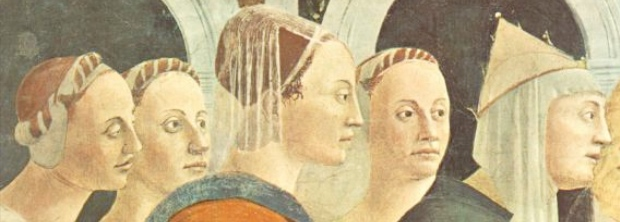 A detail from the Proof of The Cross by Piero della Francesca showing the same faces