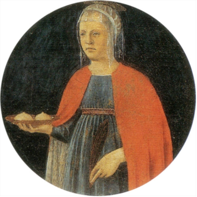 St Agatha holding her breasts on a plate