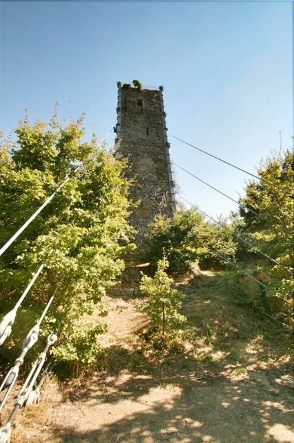 The Leaning Tower Of Vernazzano With Supporting Cables