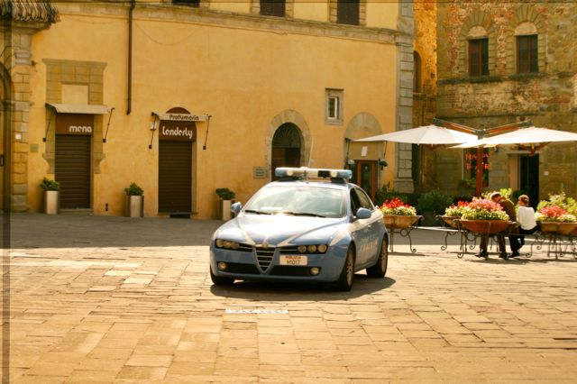 Police Car In the central piazza, Sansepolcro, Tuscany