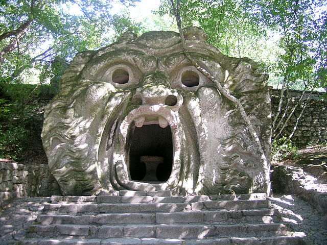 The face of the ogre at the Bomarzo Monster Park.