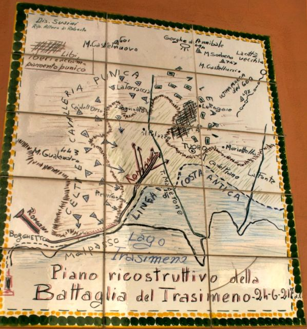 Map of the Battle of Lake Trasimeno on a wall in Tuoro