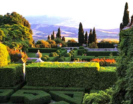 The view from the gardens at La Foce, Tuscany
