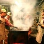 Roasting chestnuts at the Preggio Festa di Castagna