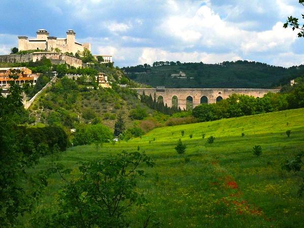 The Rocca and medieval aqueduct, Spoleto, Umbria