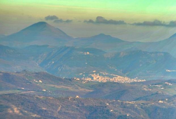 The town of Gubbio seen from the summit of Monte Acuto