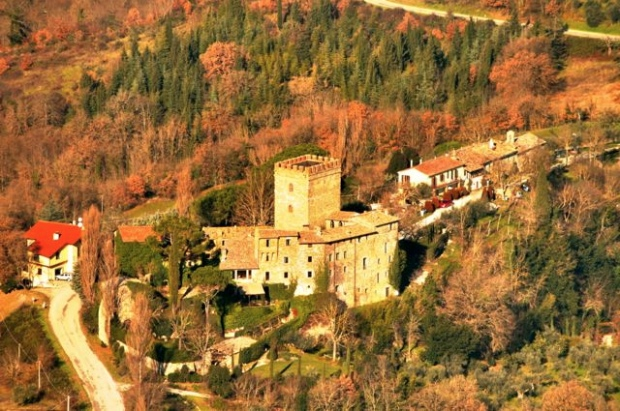 Polgeto castle viewed from the prehistoric fort on Monte Acuto