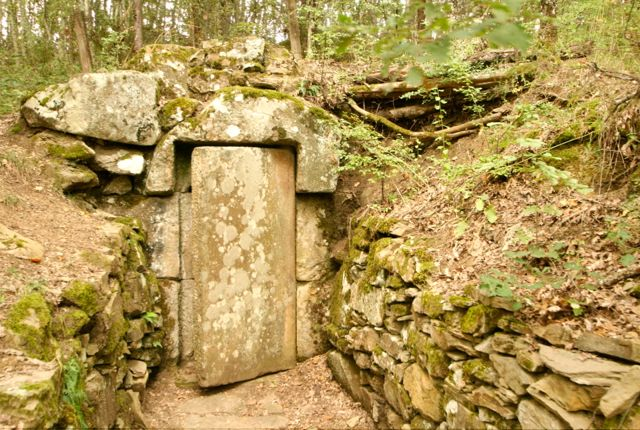 The stone entrance door to an Etruscan tomb