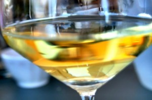 A wine glass full of Trebbiano Spoletino, a white wine from Umbria