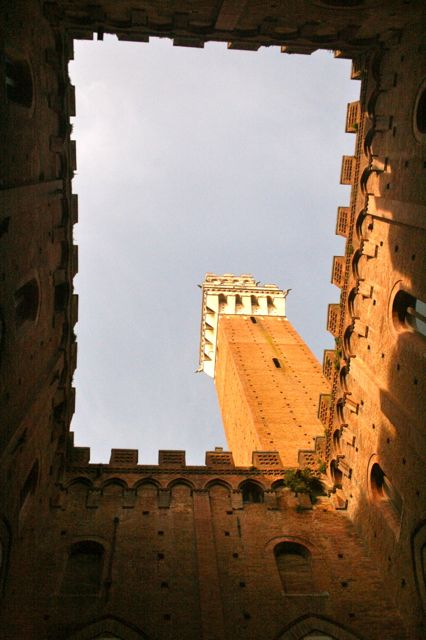 The Torre del Mangia seen from the courtyard inside the Palazzo Civico, Siena, Tuscany