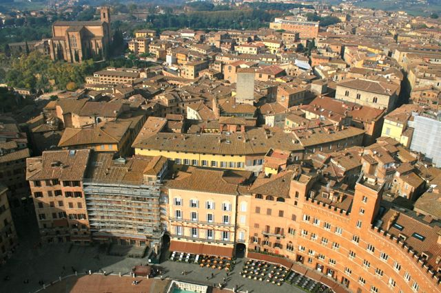 The Campo in Siena viewed from the top of the Torre del Mangia