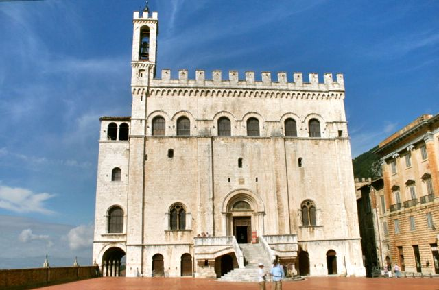 The medieval town hall in Gubbio, Umbria