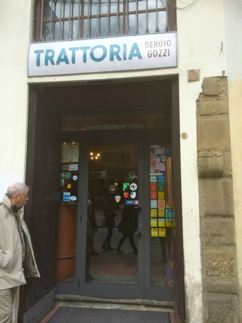 The entrance to Trattoria Gozzi in San Lorenzo, Florence