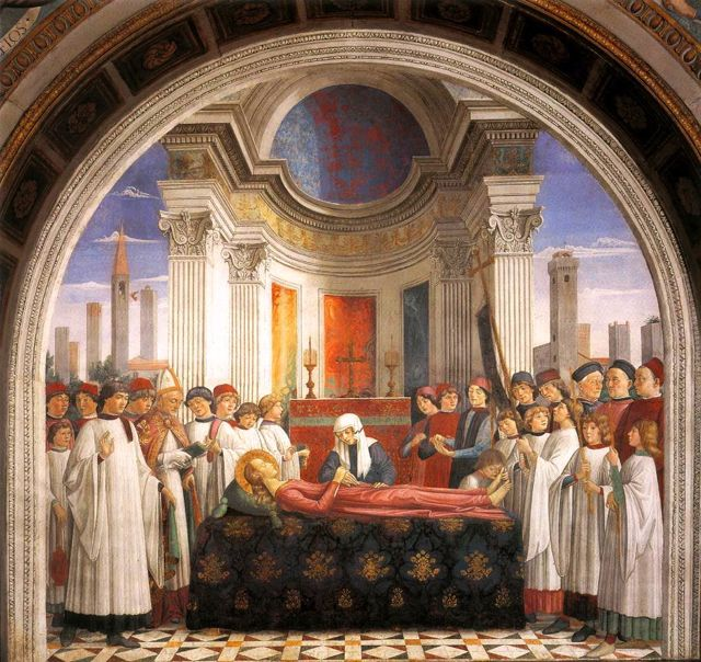 Pope Gregory announces the death of Santa Fina, Domenico Ghirlandio
