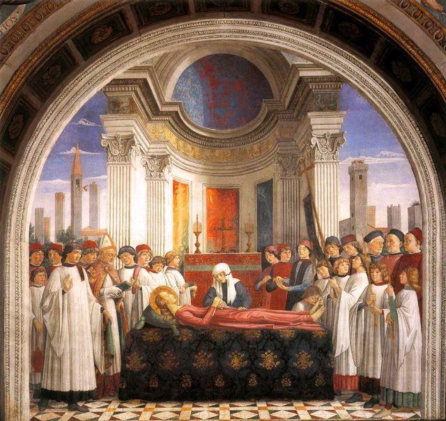 Pope Gregory announces the death of Santa Fina, Domenico Ghirlandio