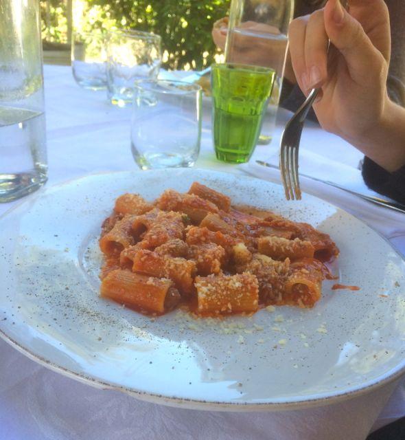 Rigatone al Rancetto pasta at La Trattoria, Pissignano