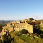 An aerial view of the hill top village of Preggio in Umbria