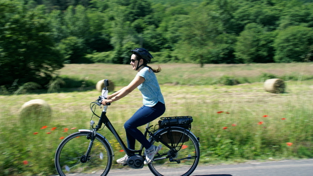 Riding an electric bike through the Niccone Valley