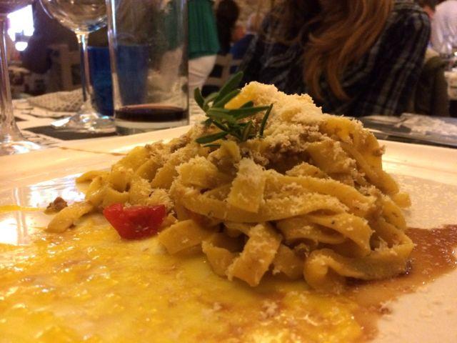 A plate of tagliatelle at osteria piatta dell'erba