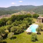 Aerial view of Casa degli Ulivi, vacation villa Tuscany Umbria border.